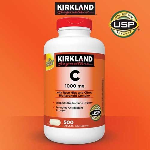 Kirkland 美国直邮 柯克兰成人复合多种维生素矿物质 维他命 玫瑰果味VC维生素C大瓶装1000mg 500粒