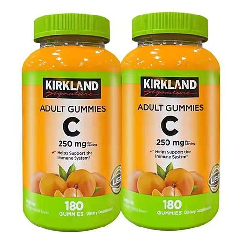 Kirkland 柯克兰VC天然维生素C水果味咀嚼软糖180粒*2瓶 香甜橙味